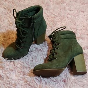 Green heeled laced booties ankle boots candies